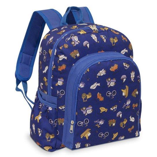 66f0891dbd Mochila Infantil LS Bolsas com bolso frontal e 2 bolsos laterais - Azul