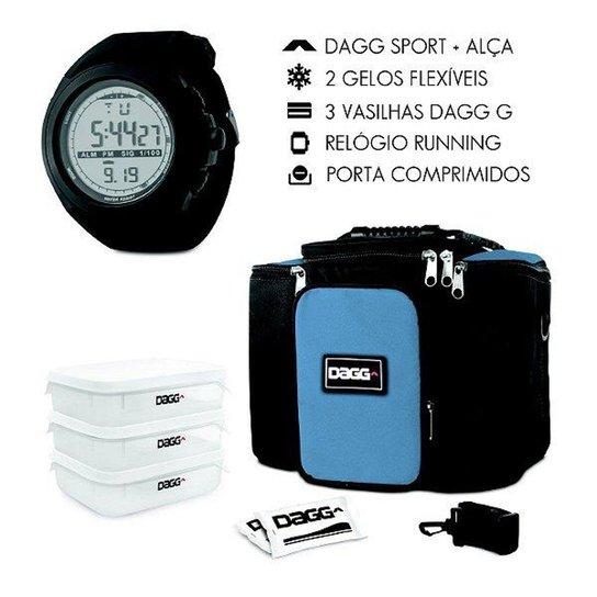 7cbe0207c53 Kit com Bolsa Térmica Fitness Dagg 6L e Relógio Digital Esportivo Dagg  Running - Azul+