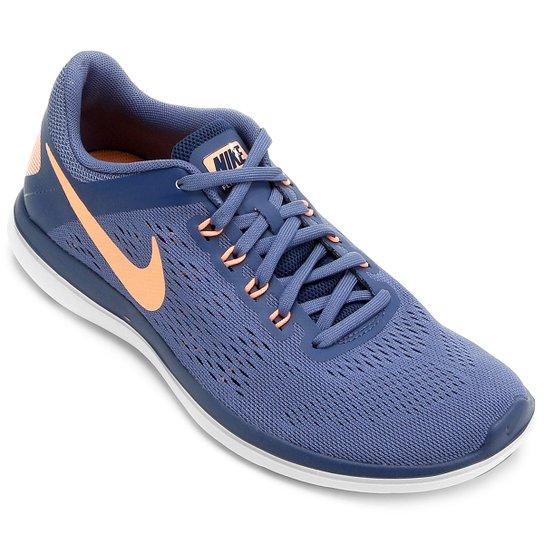 fbecbf657d7 Tênis Nike Flex 2016 RN Feminino - Azul+Salmão ...
