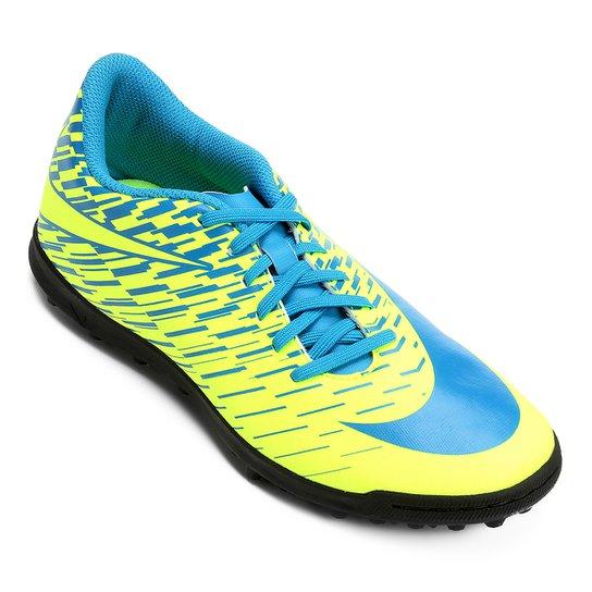 c1e6e6582a37e Chuteira Society Nike Bravata 2 TF - Azul e Verde Limão - Compre ...