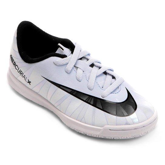 2cb8b806eb549 Chuteira Futsal Infantil Nike Mercurial X Vortex 3 CR7 IC - Branco+Preto