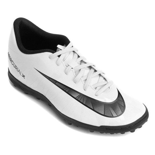cfb499f873 Chuteira Society Nike Mercurial X Vortex 3 CR7 TF - Branco+Preto