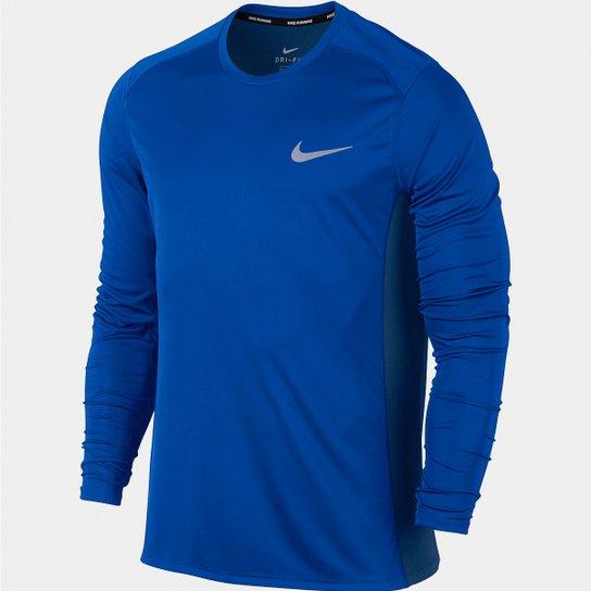 Camiseta Nike Dri-Fit Miler Manga Longa Masculina - Marinho - Compre ... d1df6f284cb42
