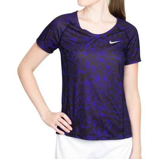 6179be71f0 Camiseta Nike Dry Miler Running Top Azul e Preta - Azul+Preto