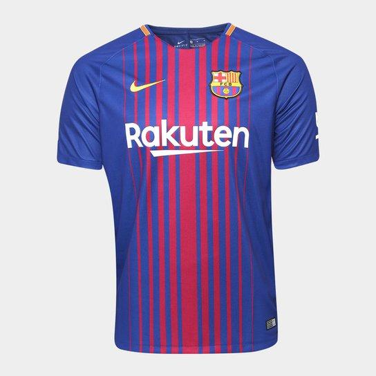 Camisa Barcelona Home 17 18 s nº Torcedor Nike Masculina - Azul ... 6c720e342ae39