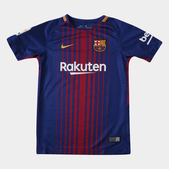 33bbe23d97 Camisa Barcelona Juvenil Home 17 18 s nº - Torcedor Nike - Azul e ...