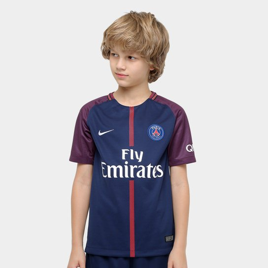 c684a868c7d5d Camisa Paris Saint Germain Juvenil Home 17 18 s nº Torcedor Nike - Azul