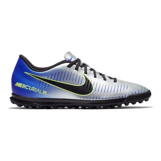 Chuteira Society Nike Mercurial Vortex 3 Neymar Jr TF - Azul e Preto ... e0bf22e486b84