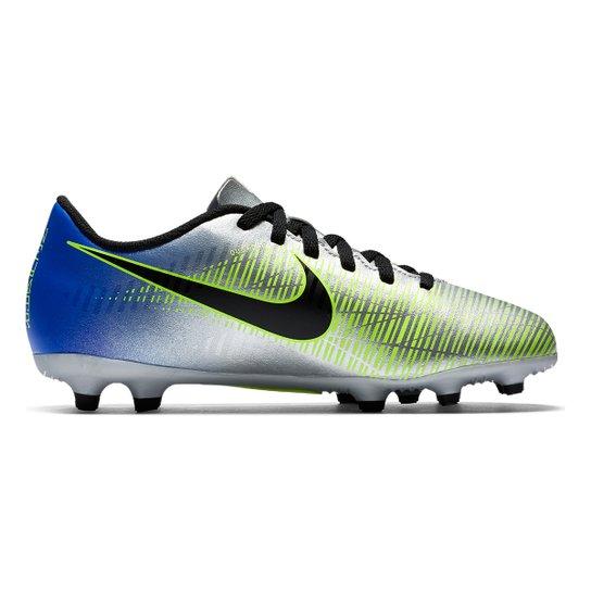 1a511ea93e Chuteira Campo Infantil Nike Mercurial Vortex 3 NJR FG - Azul+Preto