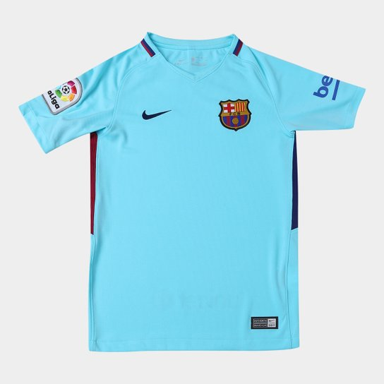 Camisa Barcelona Juvenil Away 17 18 s n° - Torcedor Nike - Azul ... 4bcfec9949f