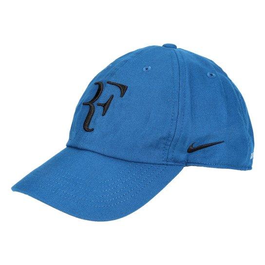 Boné Nike Aba Curva Aerobill Federer H86 - Azul e Preto - Compre ... 46fbd95711e