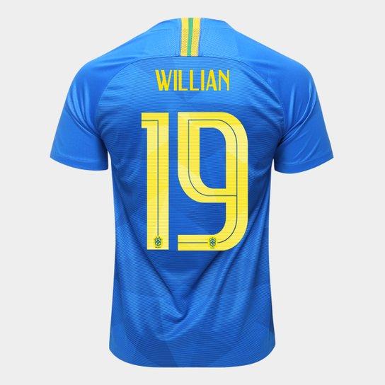 Camisa Seleção Brasil II 2018 nº 19 Willian - Torcedor Nike Masculina - Azul fb224fcf822