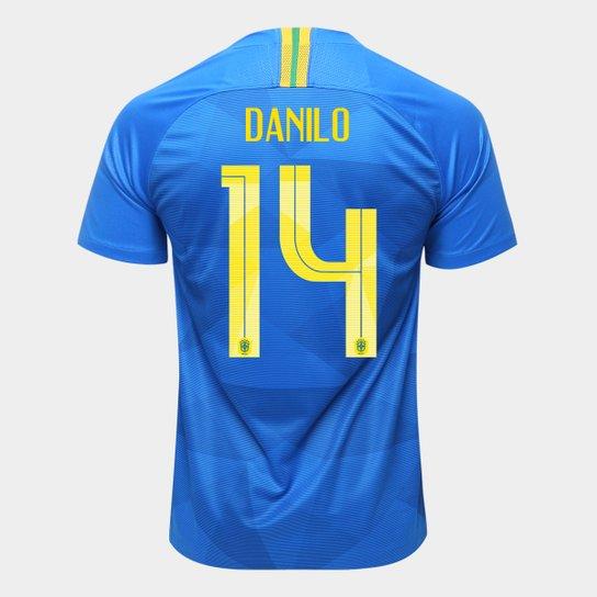6c5b44deb5 Camisa Seleção Brasil II 2018 nº 14 Danilo - Torcedor Nike Masculina - Azul