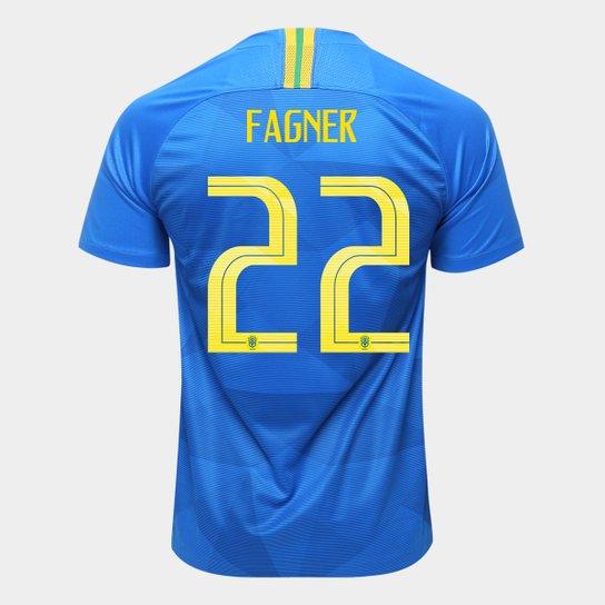 Camisa Seleção Brasil II 2018 nº 22 Fagner - Torcedor Nike Masculina - Azul 07c4b92b54fc1