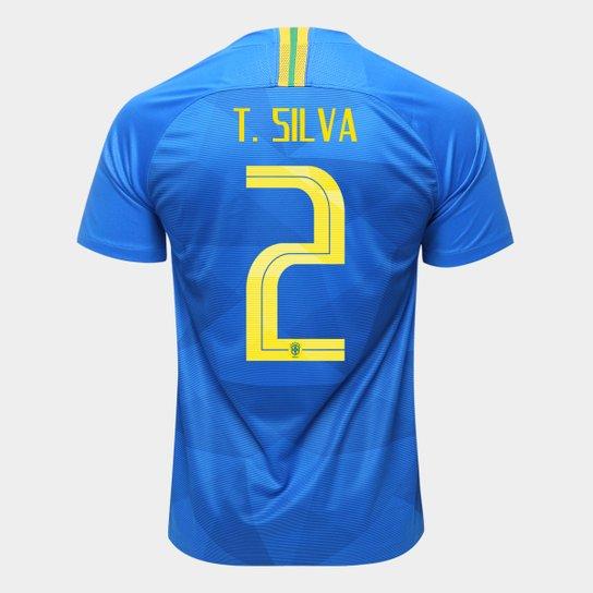2a947f17b8 Camisa Seleção Brasil II 2018 nº 2 T. Silva - Torcedor Nike Masculina - Azul