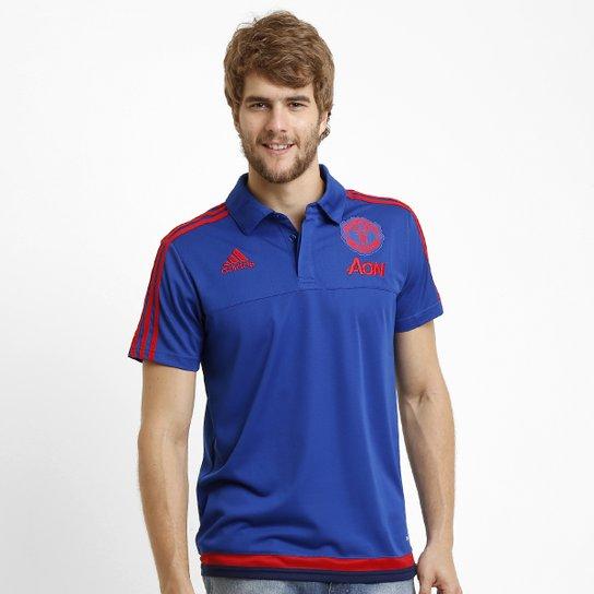 Camisa Polo Adidas Manchester United Viagem - Azul Royal+Vermelho 8601af3864ef1