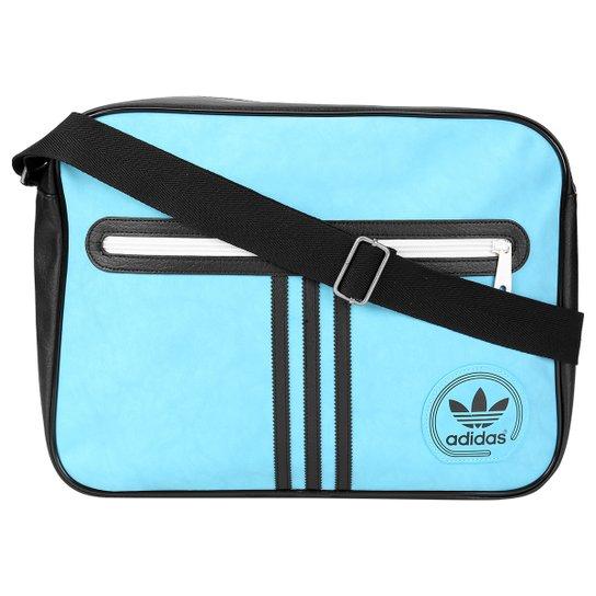 Bolsa Adidas Originals Airliner Suede Adicolor - Azul Claro+Preto 8f145510db8