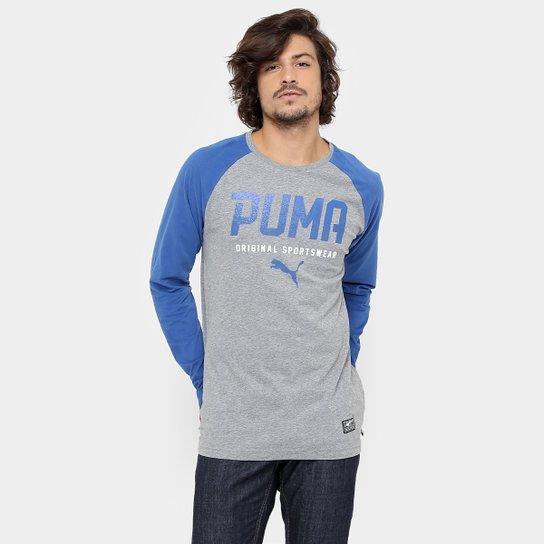 Camiseta Puma Style Tec Baseball Manga Longa - Azul - Compre Agora ... f147476677b