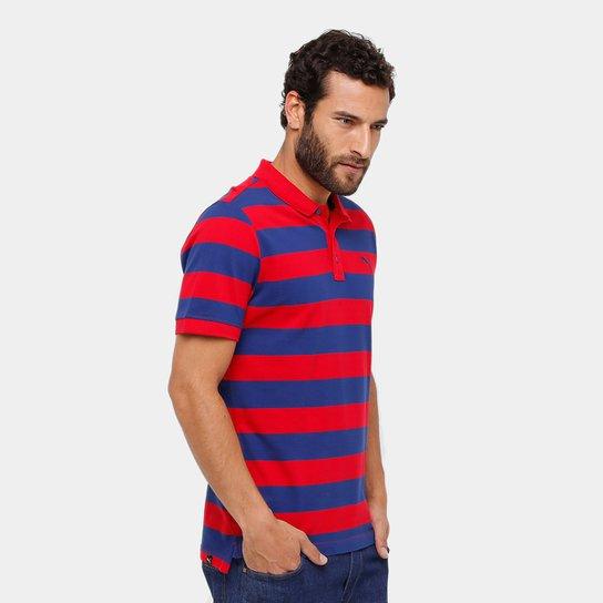64f711eec0 Camisa Polo Puma Ess Striped Pique Masculina - Marinho e Vermelho ...