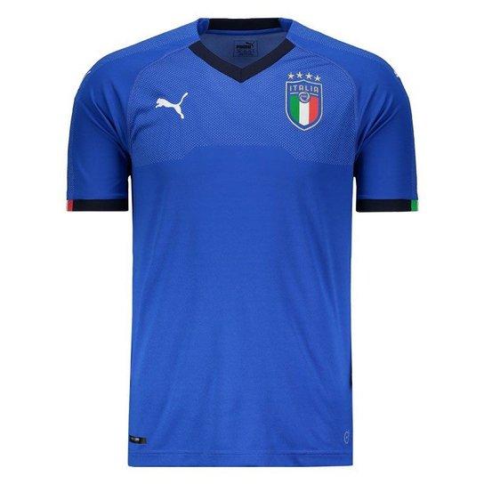 458c52ceb1fcf Camisa Puma Itália Home 2018 - Azul - Compre Agora