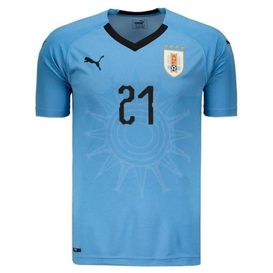 db121b26b3 Camisa Puma Uruguai Home 2018 N°21 E. Cavani Masculina - Azul | Netshoes
