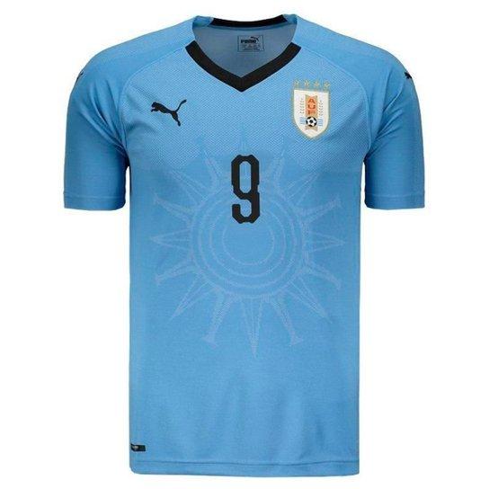 692ab2ba3b Camisa Puma Uruguai Home 2018 N°9 L. Suárez Masculina - Azul ...