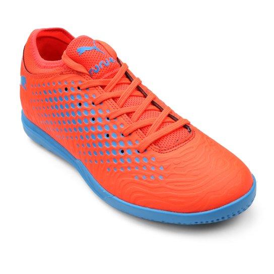1381796708 Chuteira Futsal Puma Future 19.4 IT - Laranja e Azul