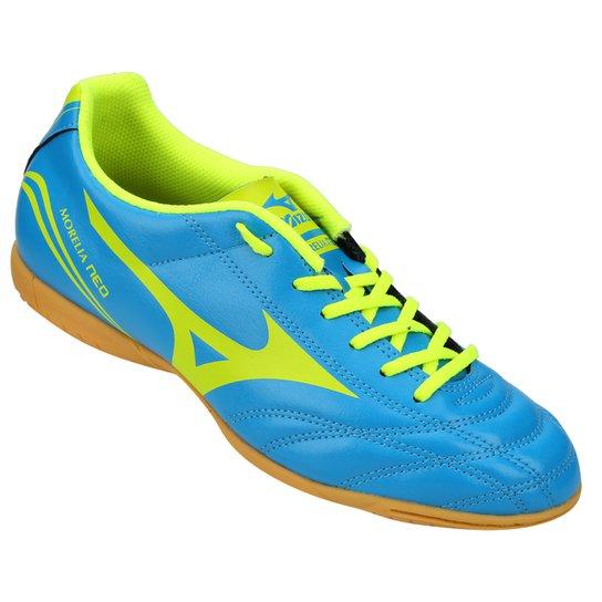 cf5161ab083d1 Chuteira Futsal Mizuno Morelia Neo Club IN Masculina - Azul Piscina+Verde  Limão
