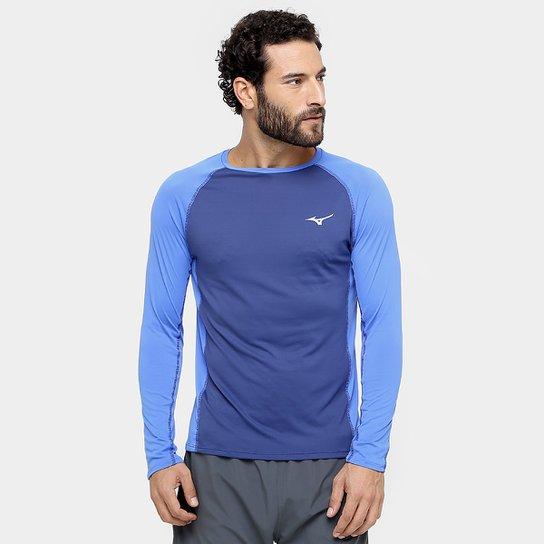 c474a31321 Camiseta Mizuno Run Pro Com Proteção UV Manga Longa Masculina - Marinho+Azul