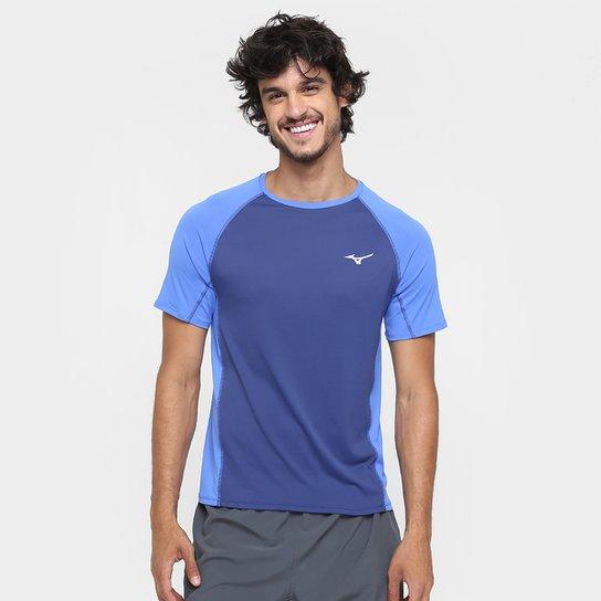 73b3f6ffc33a1 Camiseta Mizuno Run Pro Com Proteção UV Masculina - Azul e Azul ...