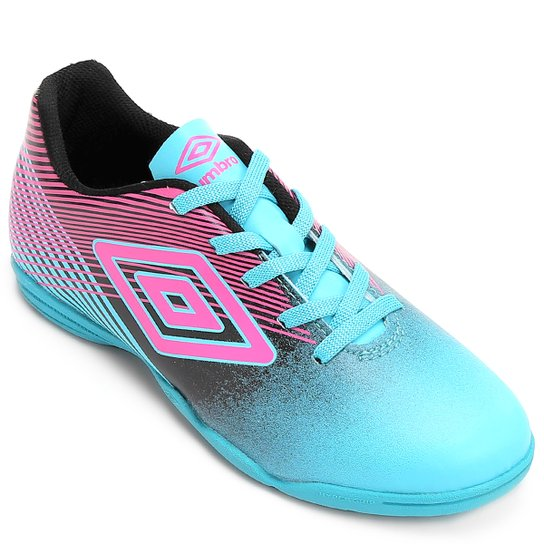 Chuteira Futsal Infantil Umbro Slice 3 - Azul Turquesa+Rosa fc6d70c81413f