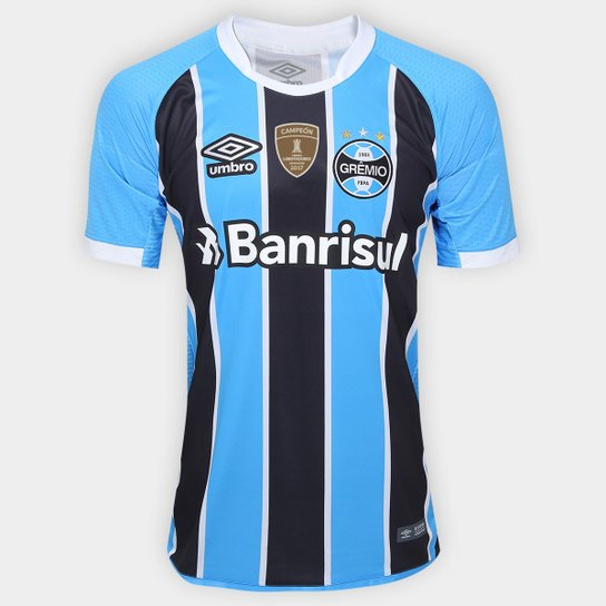 b563c420d2 Camisa Umbro Grêmio I 17 18 S Nº - Torcedor - Patch Campeão libertadores