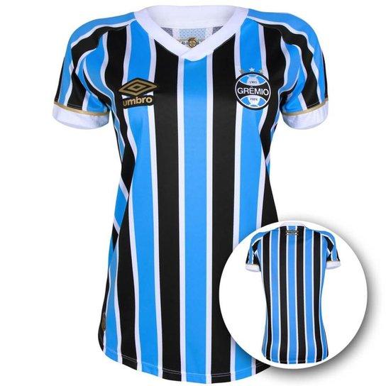 Camisa Umbro Grêmio I 18 19 s n° Torcedor Feminina - Azul e Preto ... 959255e529311