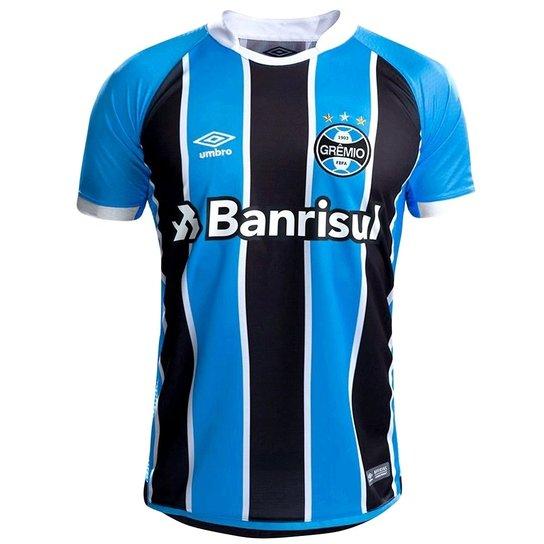 b798de625eced Camisa Grêmio I 17 18 nº 7 - Torcedor Umbro Masculina - Azul e Preto ...