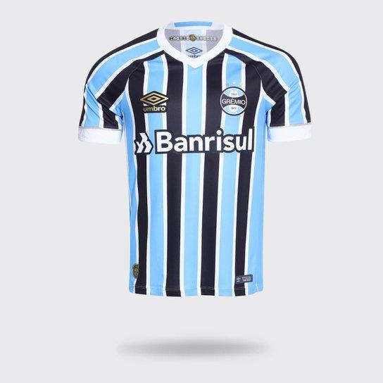 Camisa Umbro Grêmio I 2018 com Número Tricolor Torcedor Masculina - Azul b65c250e46e09