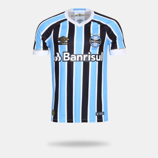 Camisa Umbro Grêmio I 2018 sem Número Tricolor Torcedor Masculina - Azul 488591eaa37ca