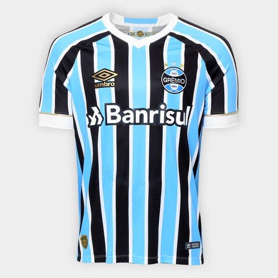 cb6e569e8 Camisa Grêmio I 18 19 s n° Torcedor Umbro Masculina - Azul e Preto ...