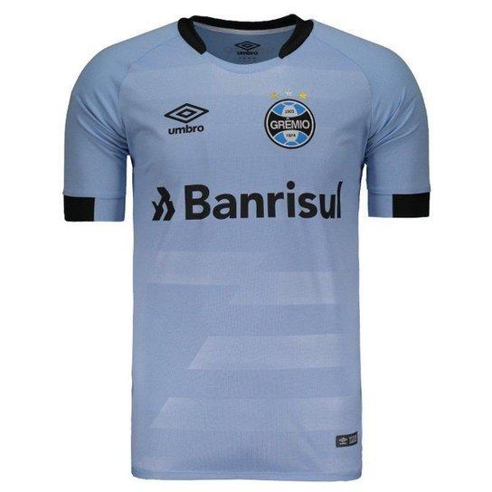 52dcf2e64dc44 Camisa Umbro Grêmio II 2017 N°3 Geromel Masculina - Azul - Compre ...
