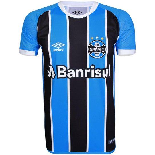 6a095bc5b0cac Camisa Umbro Masculina Grêmio Oficial I Mundial 2017 Torcedor - Azul+Preto  ...