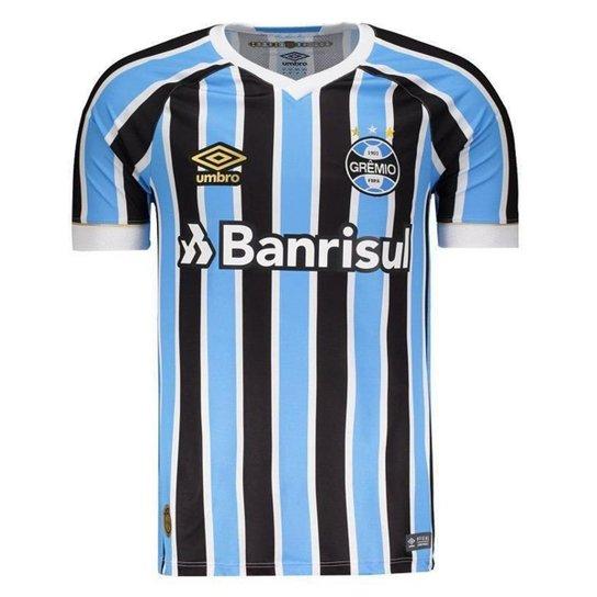 abcc02d9f Camisa Umbro Grêmio Oficial 1 2018 Masculina - Azul e Preto - Compre ...