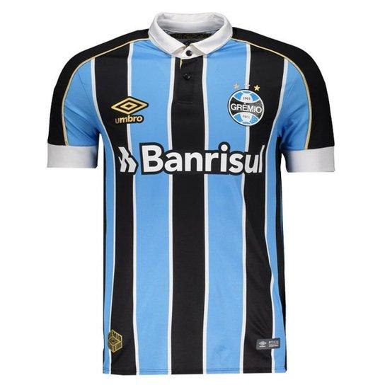f6e34dcb52 Camisa Umbro Grêmio I 2019 Jogador Masculina - Azul | Netshoes