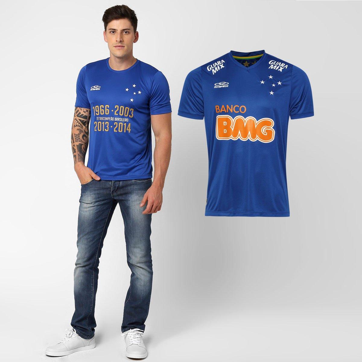 3654fe5cf8784 Kit Olympikus Cruzeiro - Camisa I 2014 + Camiseta Tetracampeão Brasil.