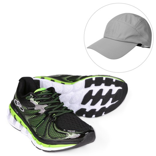 65b788dd3fd Kit Tênis Olympikus Speedy Masculino + Boné Olympikus Aba Curva Essential -  Preto+Verde Limão