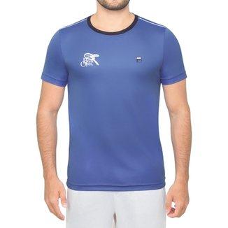 1b134f5fd2 Camiseta Fila Aztec Marinho e Branca - Edição Brasil Open 2017-P