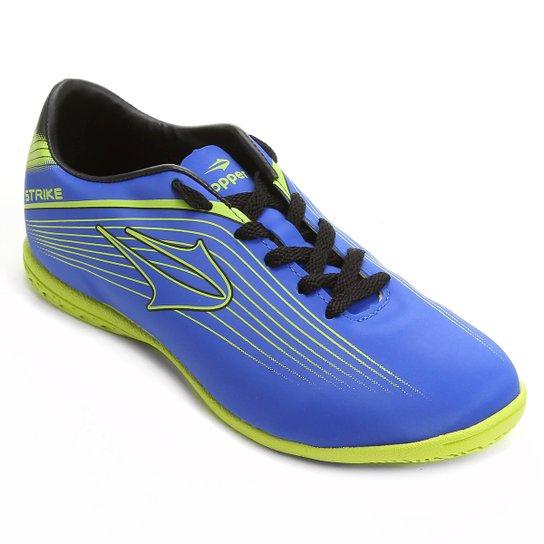c49c3394ae Chuteira Futsal Topper Strike Masculina - Azul e Verde Limão ...