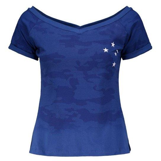 Blusa Cruzeiro Camo Feminina - Azul - Compre Agora  d83101972186b