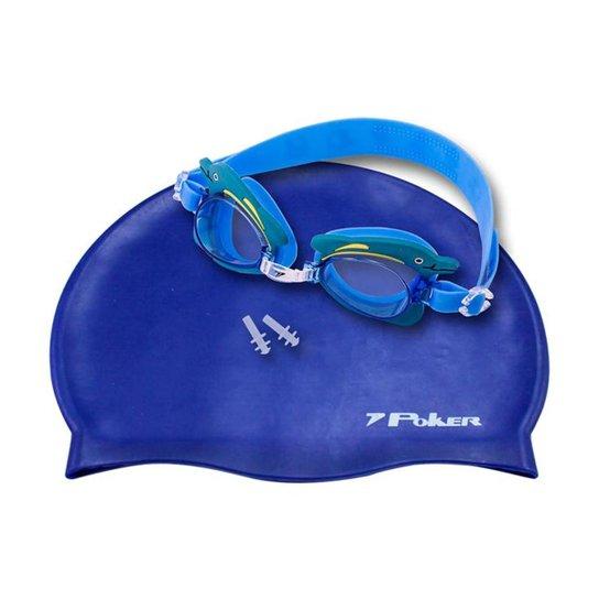 dd156df6f641d Kit Óculos + Touca + Protetor de Ouvido de Natação Infantil Poker Cartoons  - Azul