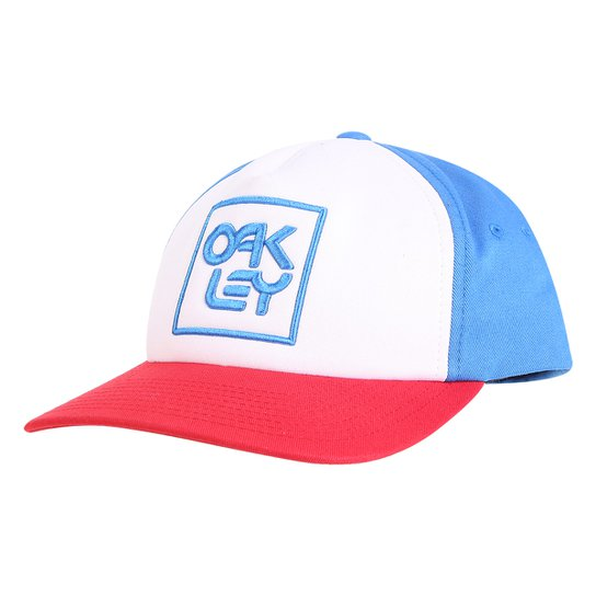 Boné Oakley Aba Reta Mod Snapback Logo Masculino - Azul e Vermelho ... 9b3ecb4bbe0