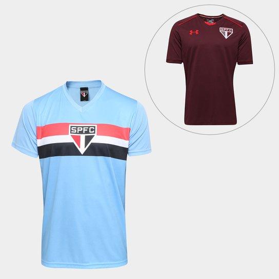 5b5037cba22 Kit São Paulo Camisa Celeste + Camisa de Treino 17 18 Under Armour  Masculino -