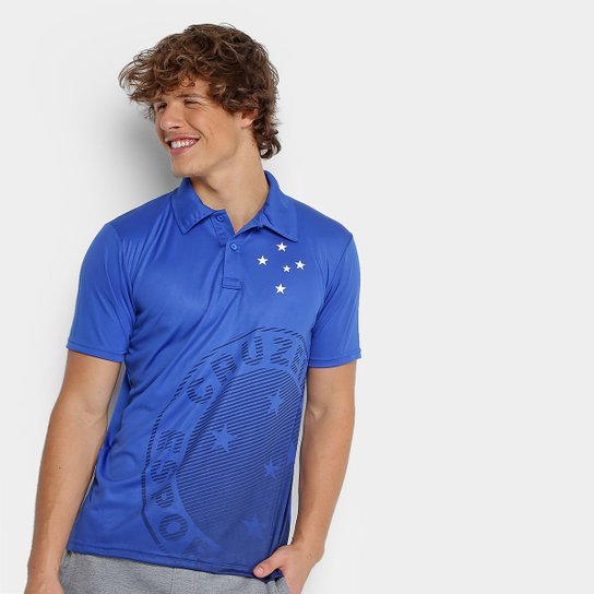 Camisa Polo Cruzeiro Shadow Estampa Masculina - Azul - Compre Agora ... 822b45a4e8d17